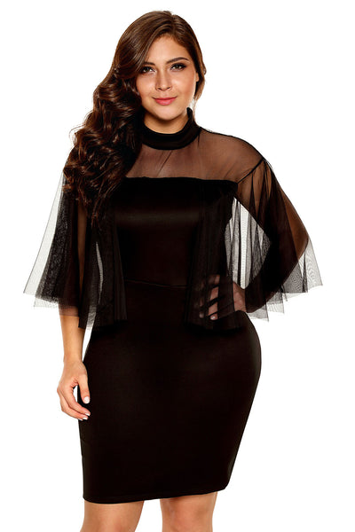 Her BIG'n'TRENDY Black Plus Size Elegant Semi-Sheer Dress