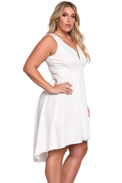 Her BIG'n'TRENDY Navy Sleeveless V Neck Plus Size Hi-lo Dress