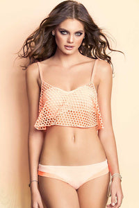 Her Bandeau Top Bamboo Hollowed Crop Top Bathing Suit