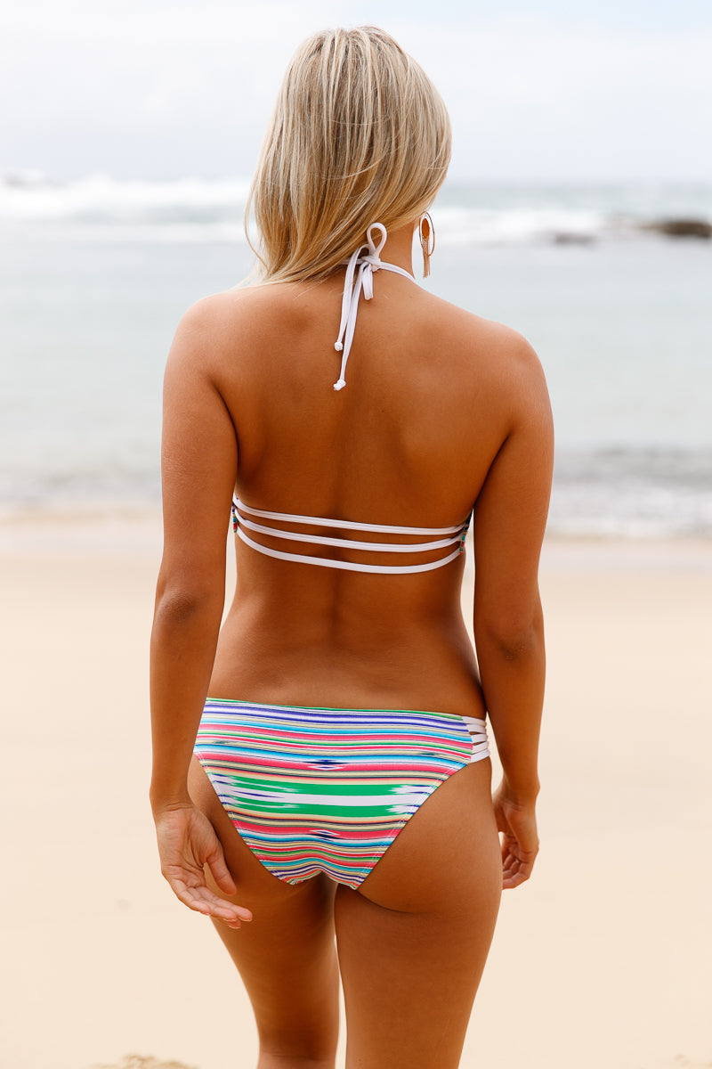 Her Beach Trend Multicolor Striped Push up Banded Detail Bikini