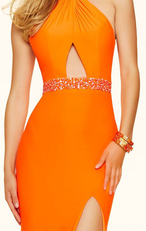 Her Beaded Halter Neckline Jersey Long Gown