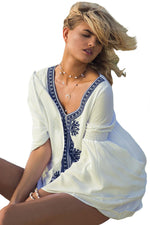 Her Beautiful Embroidered Beach Dress White Bell Sleeve Cover-up