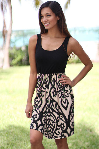 Her Beautiful Black and Taupe Printed Short Summer Dress