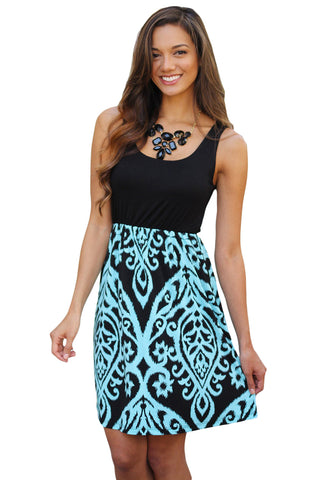 Her Beautiful Black and Aqua Printed Short Summer Dress
