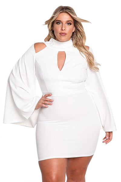 Her Big\'n\'Trendy White Plus Size Cut Out Bell Sleeve Bodycon Dress