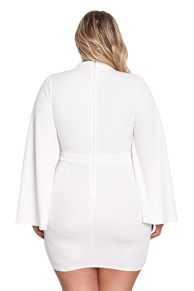 Her Big'n'Trendy White Plus Size Cut Out Bell Sleeve Bodycon Dress