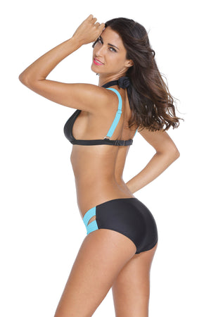 Her Black Blue Double Strap design Chic Push up Trendy Swimwear