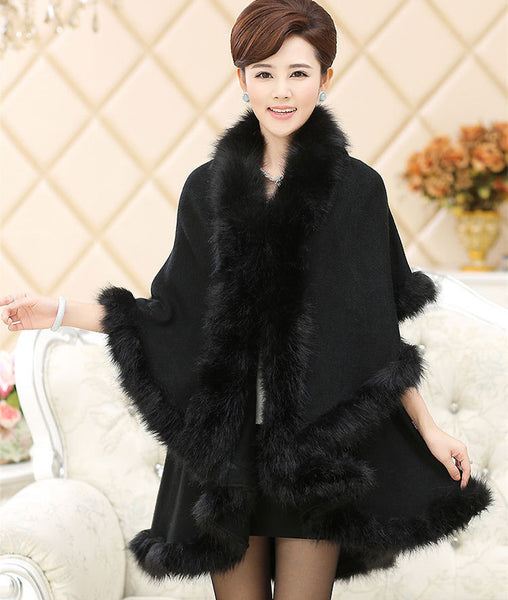 Her Black Cashmere Poncho With Contrast Faux Fox Fur Trim Collar