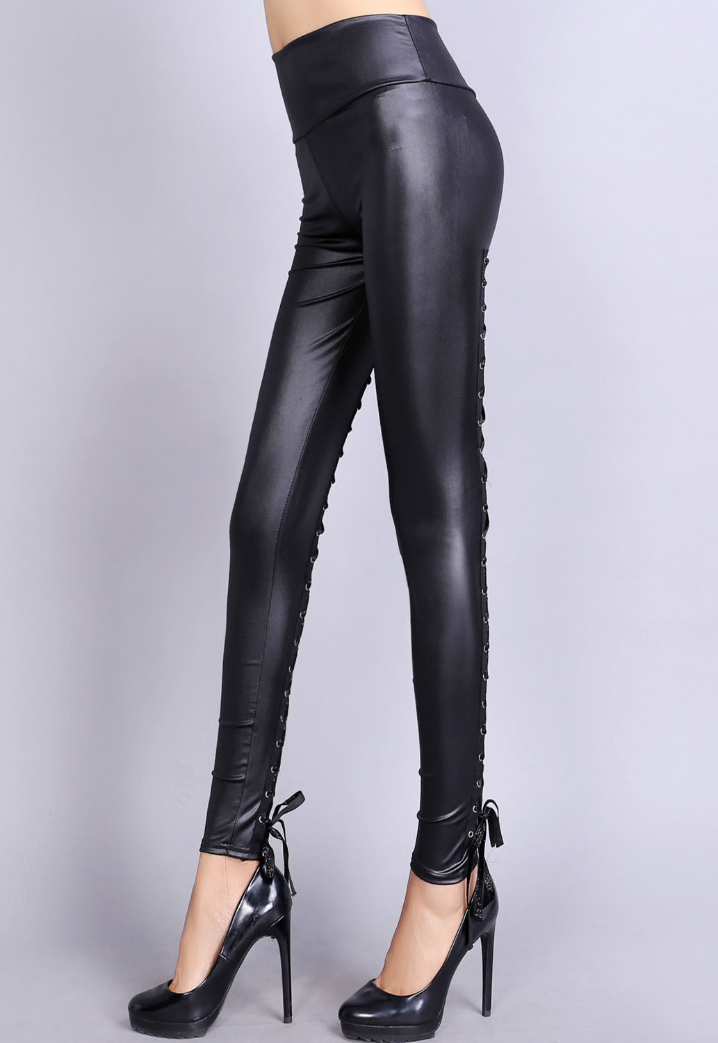 Her Black Contrast Lace-Up Back Stretch Leather Leggings