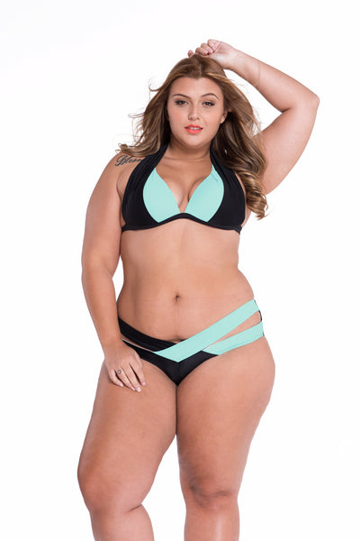Her Black Purple Double Strap design Chic Push up Plussize Swimwear