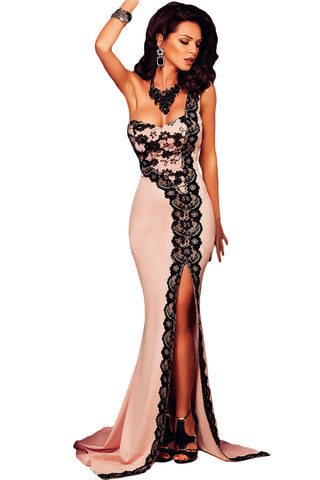 Her Black Elegant Lace One-shoulder Flesh Pink Mermaid Evening Dress