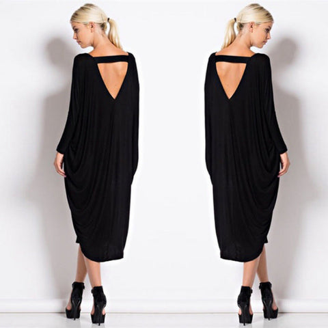 Her Black Elegant Stunning Long Sleeve Jersey Maxi Dress