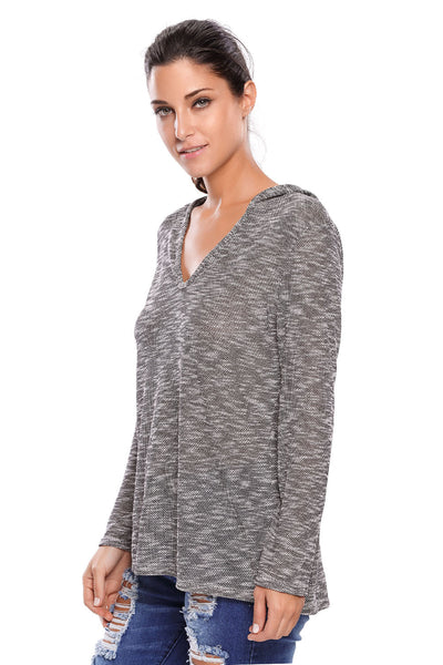 Her Black Hooded Pullover V-Neck Long Sleeve Loose Knitted Top
