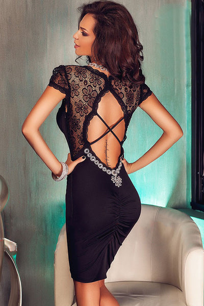 Her Black Lace Splice Cut Out Back Delicate Pleated Evening Dress