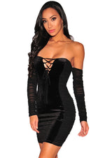 Her Black Off Sholder Long Sleeve Velvet Panels Lace up Mini Dress