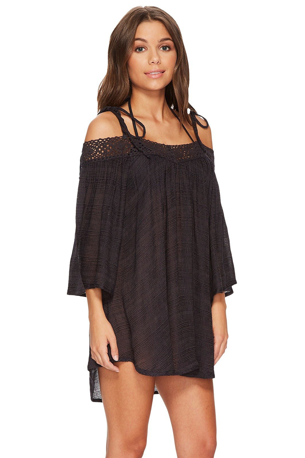 Her Black Summer Breeze Cover-up Crochet Off-the-shoulder Beachwear