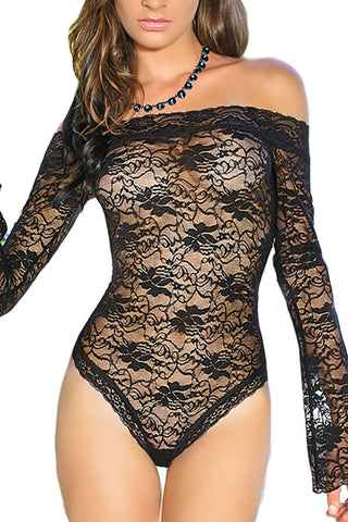 Her Black Teddy Sexy Sheer flared Sleeve One Piece Lingerie