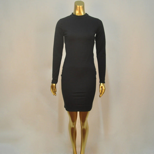 Her Black Trendy Club Backless Long Sleeve Bodycon Party Prom Dress