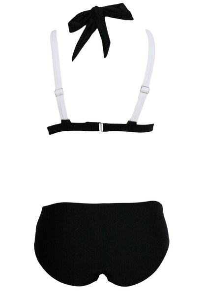 Her Black White Double Strap design Chic Push up Trendy Swimwear