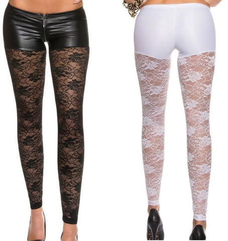 Her Black/White Leggings With Zipper And Shorts Illusion Lace