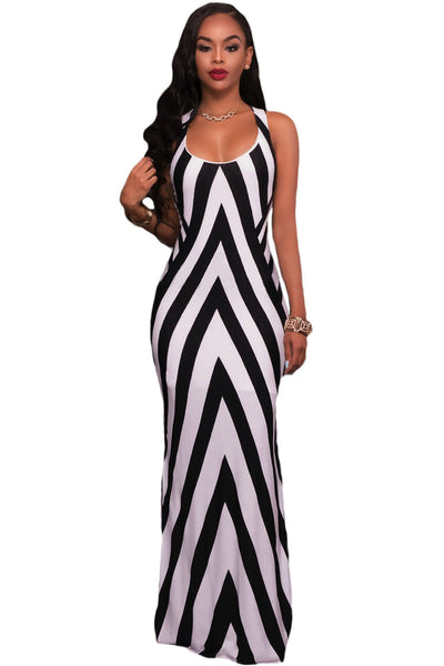 5d5b87e4ee5a Her Black White Striped Look Cutout Back Sleeveless Stylish Maxi Dress –  HisandHerFashion.com