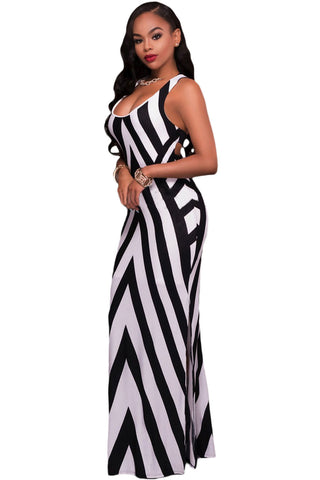 Her Black White Striped Look Cutout Back Sleeveless Stylish Maxi Dress
