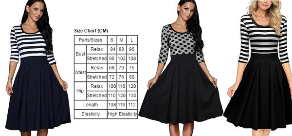 Her Black Polka Dots Scoop Neck Sleeved Trendy Design Swing Dress