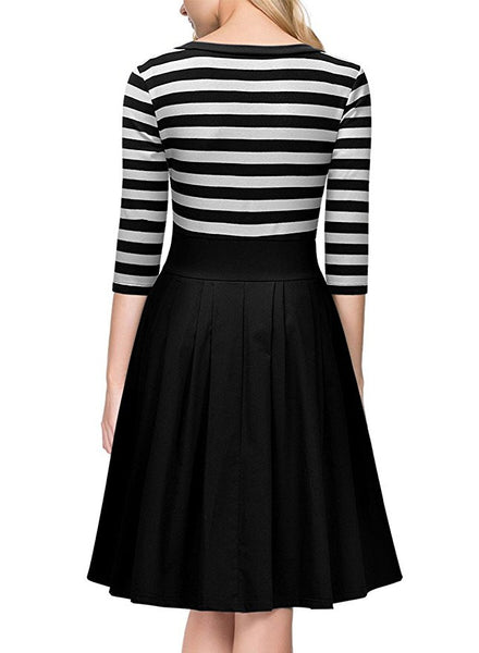 Her Black White Stripes Scoop Neck Sleeved Trendy Design Swing Dress