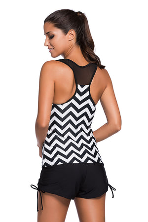 Her Black White Zigzag Print Mesh Splice 2pcs Trendy Tankini Swimsuit