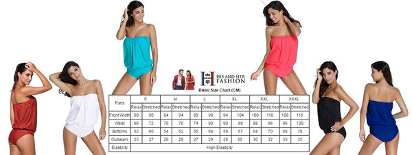 Her Red Wirefree Chic Blouson Style Tankini Two Pieces Swimsuit