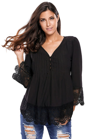Her Black Floral Lace Crochet Detail Button Up Sleeved Blouse