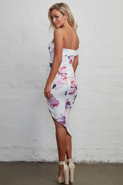 Her Blooming Vibrant Floral Print High-low Midi Boho Dress