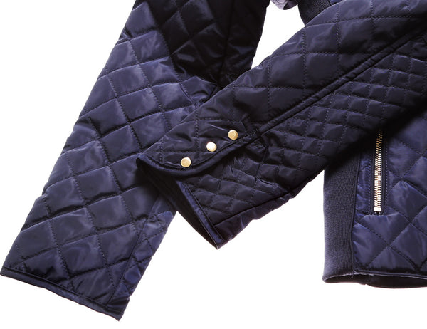 Her Stylish Navy Diamond Quilted High Neck Cotton Cute Jacket