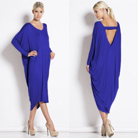 Her Blue Elegant Stunning Long Sleeve Jersey Maxi Dress
