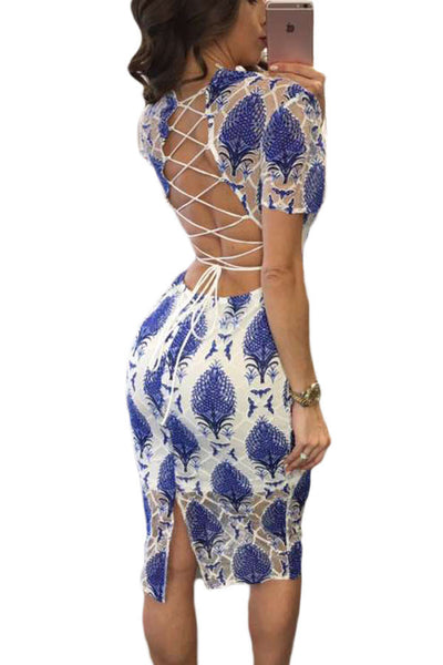 Her Blue Embroidery Illusion Lace Up Back Very Chic Midi Dress