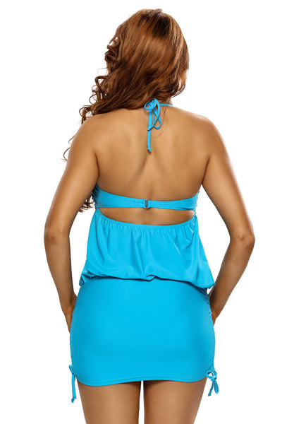 Her Blue Halter Bikini Top One Piece Adjustable Flattering Swim Dress
