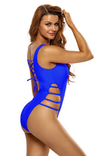 Her Royal Blue Strappy High Leg LaceUp Back Fabulous OnePiece Swimsuit