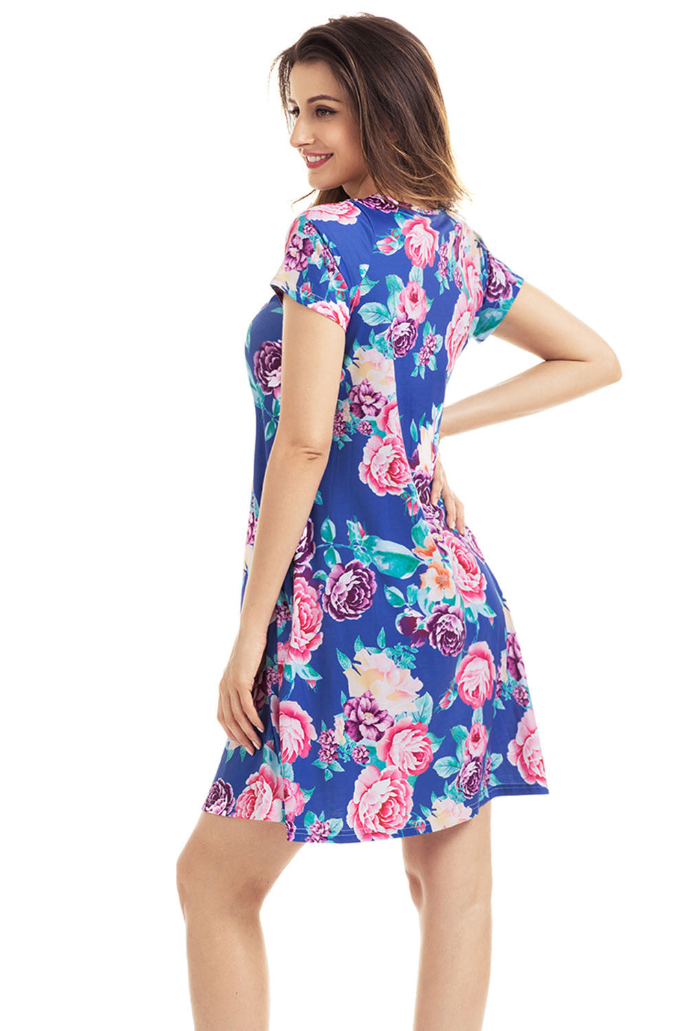Her Pink Pocket Design Summer Floral Sleek Shirt Dress