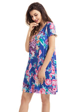 Her Royal Blue Pocket Design Summer Floral Sleek Shirt Dress