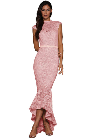Her Body-Flattering Pink Lace Overlay Embroidered Mermaid Dress