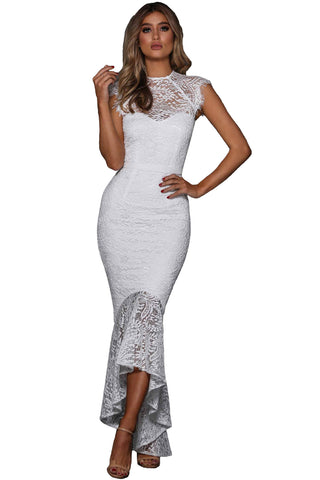 Her Body-Flattering White Lace Overlay Embroidered Mermaid Dress