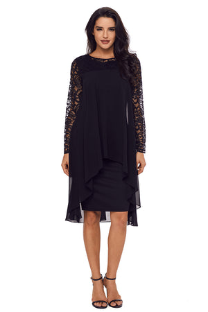 Her Bodycon Stunning Black Lace Long Sleeve Double Layer Midi Dress