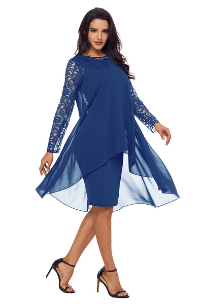 Her Bodycon Stunning Blue Lace Long Sleeve Double Layer Midi Dress