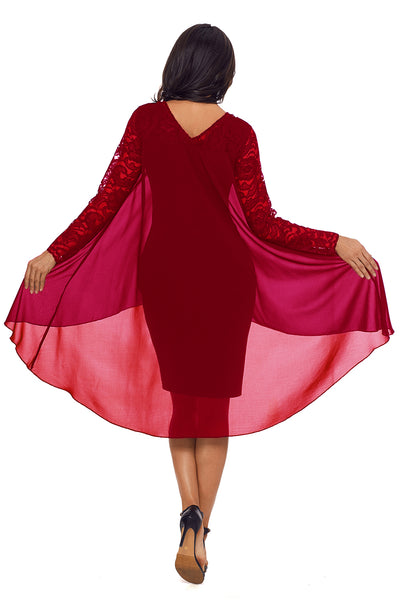 Her Bodycon Stunning Burgundy Lace Long Sleeve Double Layer Midi Dress