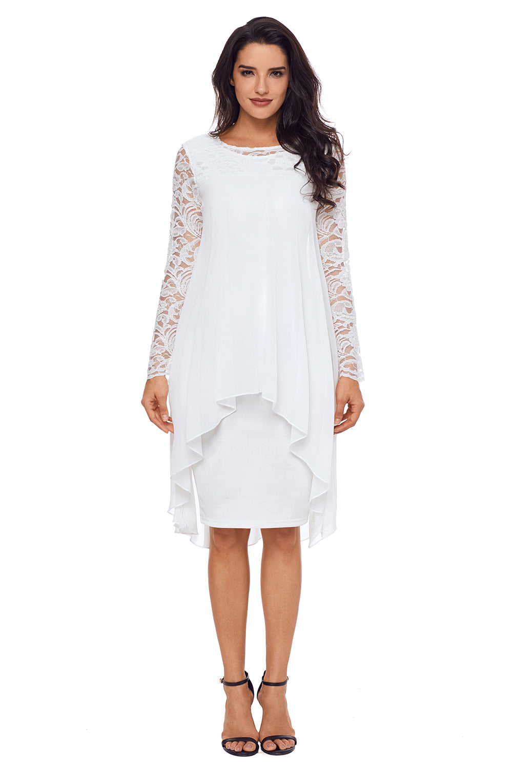 Her Bodycon Stunning White Lace Long Sleeve Double Layer Midi Dress