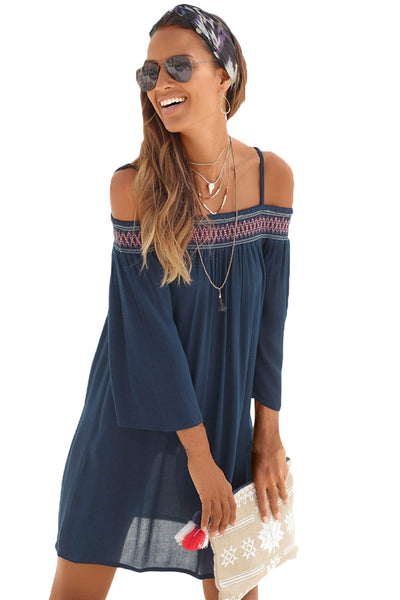 45cc531d2e5 Her Boho Off Shoulder Embroidered Neckline Chic Navy Beach Dress –  HisandHerFashion.com
