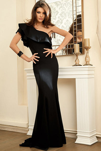 655f03f2b3 Her Breathtaking Black Ruffle One Shoulder Elegant Mermaid Dress ...