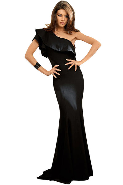 bbf672583c005f Her Breathtaking Black Ruffle One Shoulder Elegant Mermaid Dress –  HisandHerFashion.com