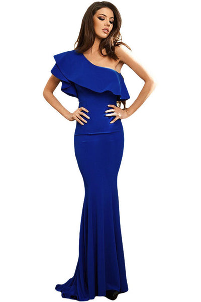 6d2f824b5ee Her Breathtaking Royal Blue Ruffle One Shoulder Elegant Mermaid Dress –  HisandHerFashion.com