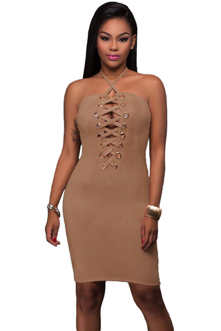 Her Brown Grommet Detail Elegant Halter Suede Bodycon Dress